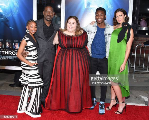 Actors Eris Baker Sterling K Brown Chrissy Metz Niles Fitch and Mandy Moore arrive for the 'Breakthrough' Los Angeles premiere at Regency Village...