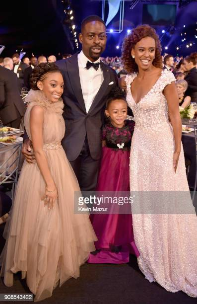 Actors Eris Baker Sterling K Brown Faithe C Herman and Ryan Michelle Bathe pose during the 24th Annual Screen Actors Guild Awards at The Shrine...