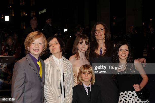 Actors Eros Valhos Asa Butterfield Rosie Taylor Ritson director Susanna White actress Lil Woods and actor Oscar Steer attend the 'Nanny McPhee And...