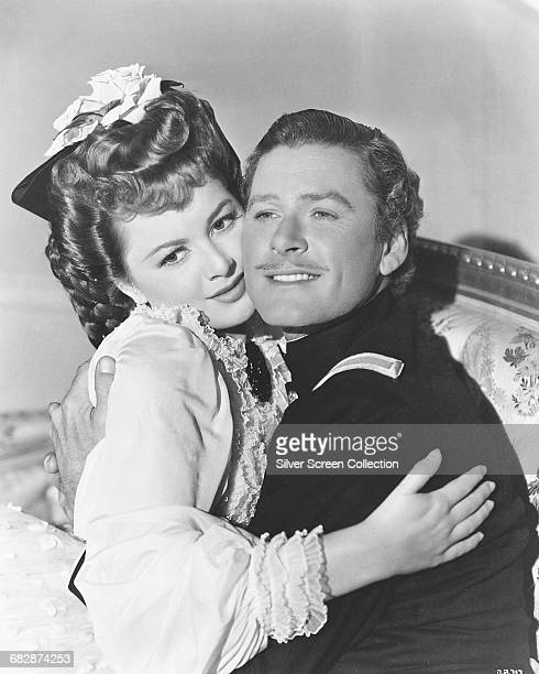 Actors Errol Flynn as George Armstrong Custer and Olivia de Havilland as Elizabeth Bacon in the film 'They Died with Their Boots On' 1941
