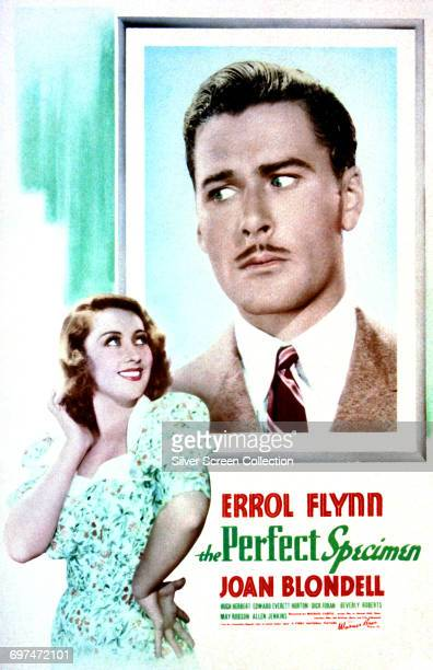 Actors Errol Flynn as Gerald Beresford Wicks and Joan Blondell as Mona Carter on a poster for the Warner Bros film 'The Perfect Specimen' 1937