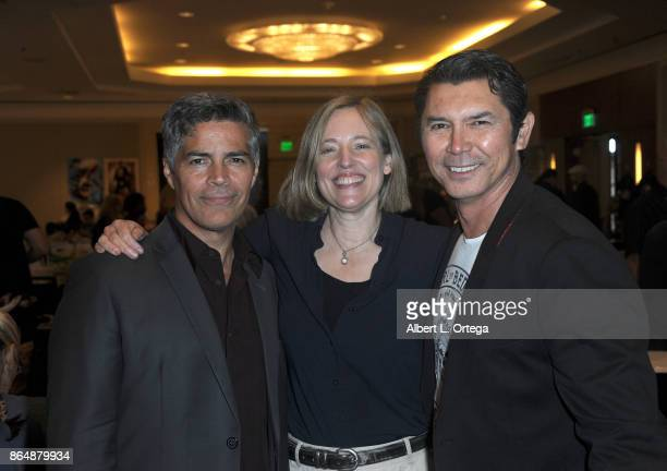 Actors Esai Morales Danielle von Zerneck and Lou Diamond Phillips of 'La Bamba' at The Hollywood Show held at Westin LAX Hotel on October 21 2017 in...