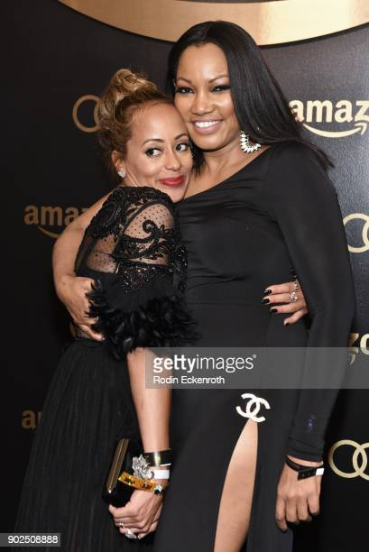 Actors Essence Atkins and Garcelle Beauvais arrive at the Amazon Studios Golden Globes Celebration at The Beverly Hilton Hotel on January 7 2018 in...