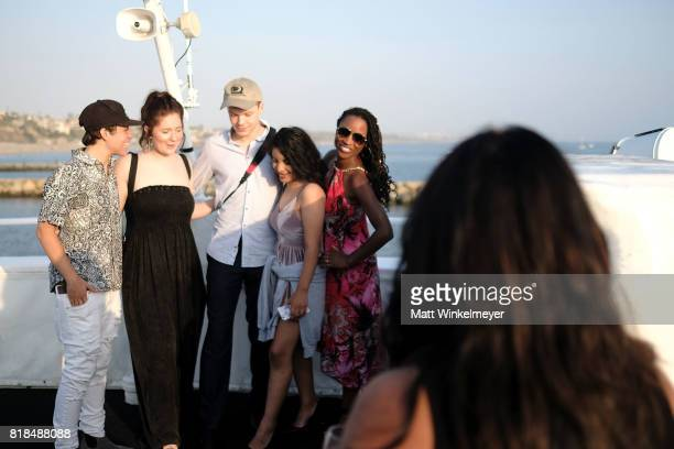 Actors Ethan Cutkosky Emma Rose Kenney Cameron Monaghan and Shanola Hampton attend Steve Howey's Surprise 40th Birthday Party on July 16 2017 in Los...