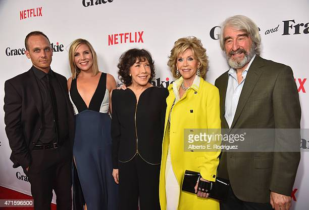 Actors Ethan Embry June Diane Raphael Lily Tomlin Jane Fonda and Sam Waterston attend the premiere of Netflix's Grace and Frankie at Regal Cinemas LA...