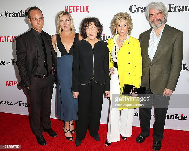 Actors Ethan Embry June Diane Raphael Lily Tomlin Jane Fonda and Sam Waterston attend the premiere of Netflix's 'Grace And Frankie' at Regal Cinemas...