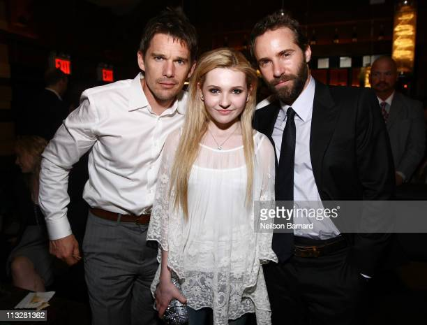 Actors Ethan Hawke Abigail Breslin and Alessandro Nivola attend the Janie Jones' premiere afterparty at the Tribeca Film Festival presented by...
