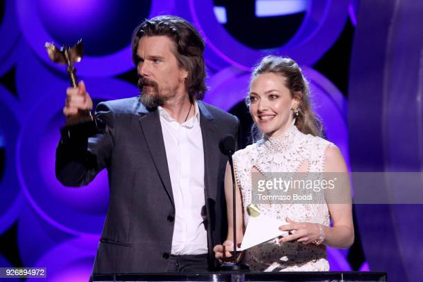Actors Ethan Hawke and Amanda Seyfried speak onstage during the 2018 Film Independent Spirit Awards on March 3 2018 in Santa Monica California