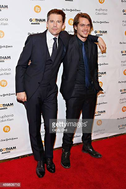 Actors Ethan Hawke and Ellar Coltrane attend the 24th Annual Gotham Independent Film Awards at Cipriani Wall Street on December 1 2014 in New York...