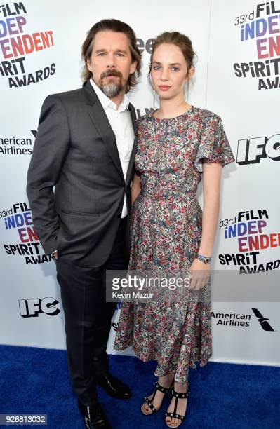 Actors Ethan Hawke and Maya Hawke attend the 2018 Film Independent Spirit Awards on March 3, 2018 in Santa Monica, California.
