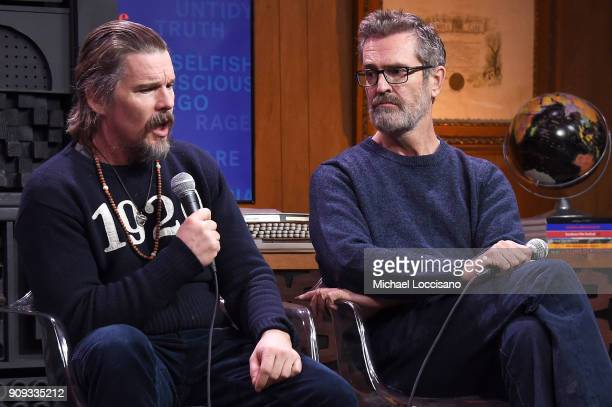 Actors Ethan Hawke and Rupert Everett attend Cinema Cafe With Ethan Hawke And Rupert Everett during the 2018 Sundance Film Festival at Filmmaker...