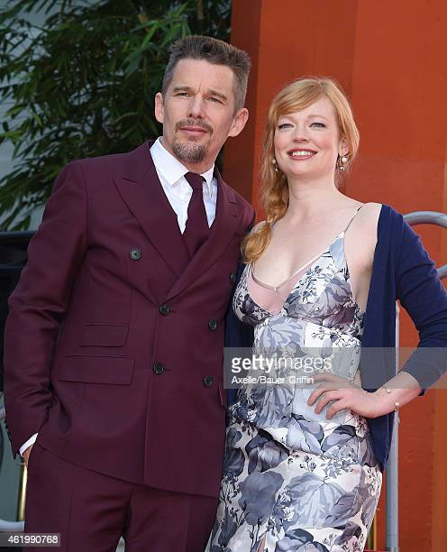 Actors Ethan Hawke and Sarah Snook attend Ethan Hawke's hand and footprint ceremony at TCL Chinese Theatre on January 8 2015 in Hollywood California