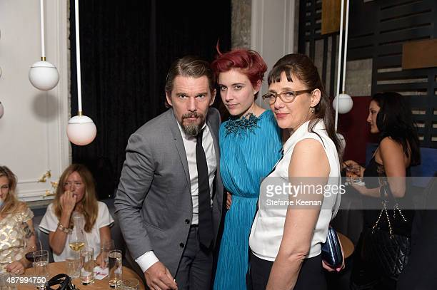 Actors Ethan Hawke Greta Gerwig and director Rebecca Miller attend the Maggie's Plan TIFF party hosted by GREY GOOSE Vodka at Byblos on September 12...