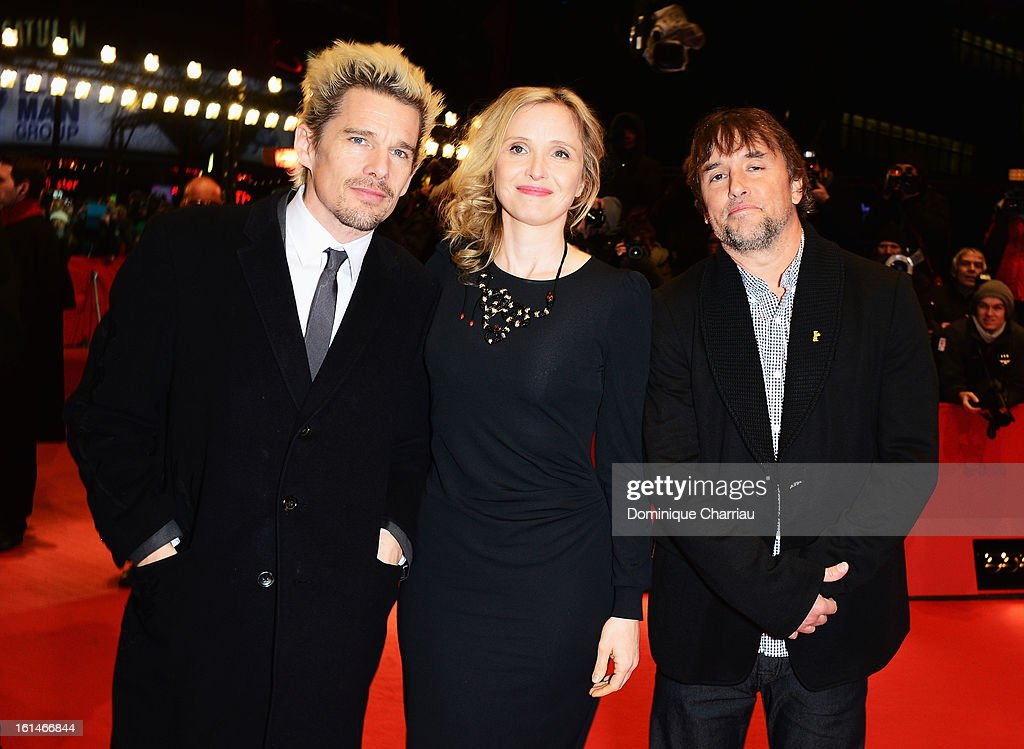 Actors Ethan Hawke, Julie Delpy and director Richard Linklater attend the 'Before Midnight' Premiere during the 63rd Berlinale International Film Festival at the Berlinale Palast on February 11, 2013 in Berlin, Germany.