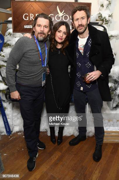 Actors Ethan Hawke Rose Byrne and Chris O'Dowd attend the 'Juliet Naked' afterparty at the Grey Goose Blue Door during Sundance Film Festival on...