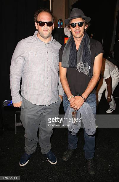 Actors Ethan Suplee and Lukas Haas backstage at the Rebecca Minkoff Spring 2014 fashion show during MercedesBenz Fashion Week at The Theatre at...