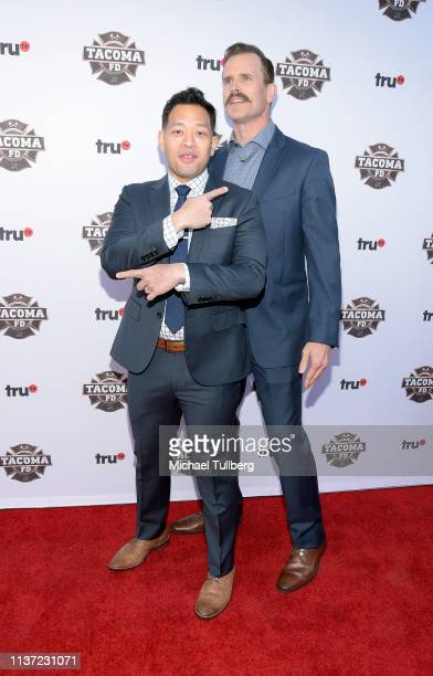 Actors Eugene Cordero and Gabriel Hogan attend the premiere of truTV's 'Tacoma FD' at Seventh/Place on March 20 2019 in Los Angeles California