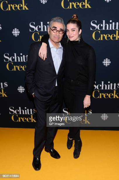 Actors Eugene Levy and Annie Murphy attend the Schitt's Creek Season 4 premiere at TIFF Bell Lightbox on January 9 2018 in Toronto Canada