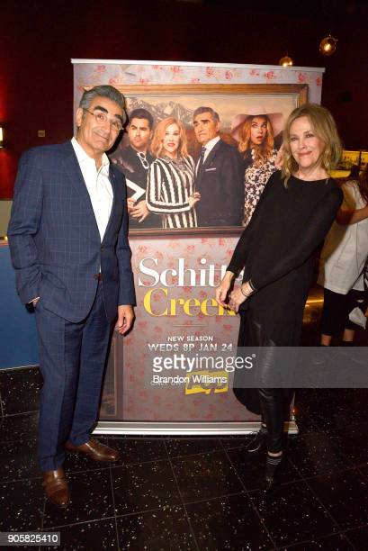 Actors Eugene Levy and Catherine O'Hara attend the premiere for Pop TV's Schitt's Creek season 4 on January 16 2018 in Hollywood California