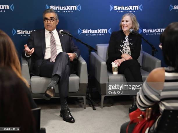 Actors Eugene Levy and Catherine O'Hara discuss the new season of Schitt's Creek during a SiriusXM Unmasked event hosted by Ron Bennington at the...