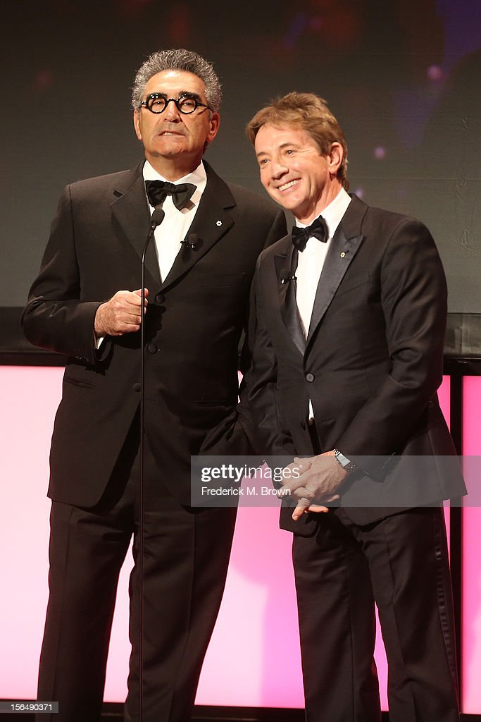 Actors Eugene Levy and Martin Short speak onstage during the 26th American Cinematheque Award Gala honoring Ben Stiller at The Beverly Hilton Hotel on November 15, 2012 in Beverly Hills, California.