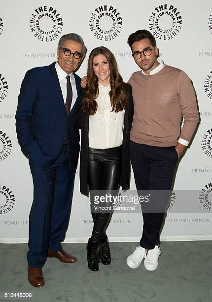 Actors Eugene Levy Sarah Levy and Daniel Levy attend Paley Center For Media Presents PaleyLive LA An evening with 'Schitt's Creek' at The Paley...