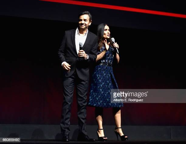 "Actors Eugenio Derbez and Salma Hayek speak onstage at CinemaCon 2017 Lionsgate 2017 A Sneak Peek and Special Screening of ""The Hitman's Bodyguard""..."