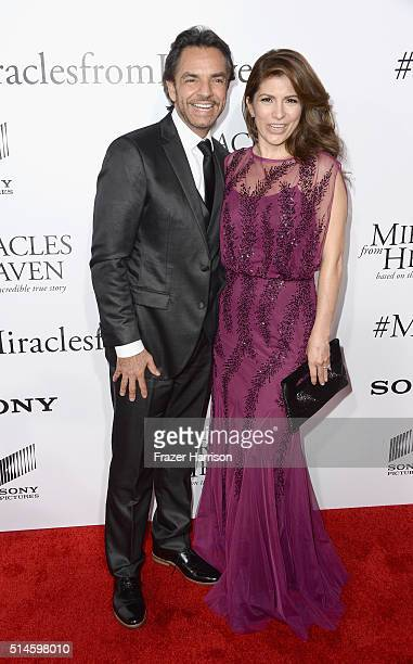 Actors Eugenio Derbez and wife Alessandra Rosaldo arrives at the Premiere of Columbia Pictures' 'Miracles From Heaven' at ArcLight Hollywood on March...