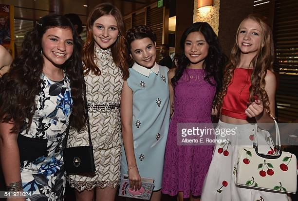Actors Eva Bella Jane Widdop Chloe East Ashley Liao and Emma Rayne Lyle attend the premiere of Marvista Entertainment's Jessica Darling's It List at...