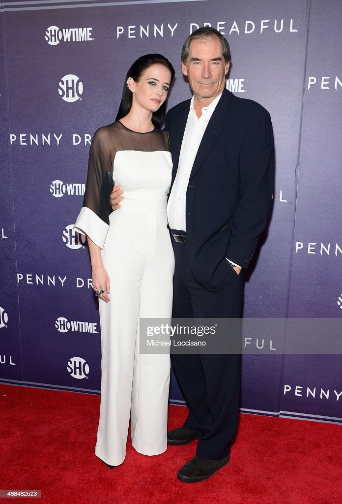 Actors Eva Green (L) and Timothy Dalton arrive at Showtime's 'PENNY DREADFUL' world premiere at The High Line Hotel on May 6, 2014 in New York City.