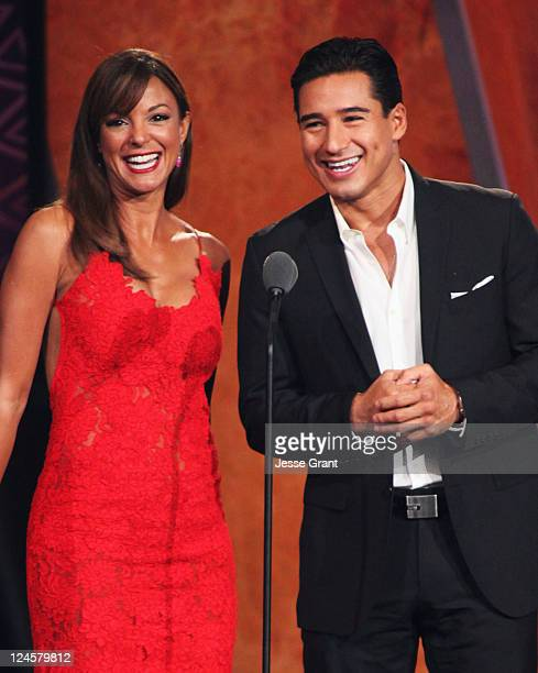 Actors Eva La Rue and Mario Lopez speak onstage during the 2011 NCLR ALMA Awards held at Santa Monica Civic Auditorium on September 10 2011 in Santa...
