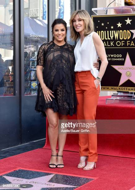 Actors Eva Longoria and Felicity Huffman attend the ceremony honoring Eva Longoria with star on the Hollywood Walk of Fame on April 16 2018 in...