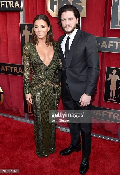 Actors Eva Longoria and Kit Harington attend the 22nd Annual Screen Actors Guild Awards at The Shrine Auditorium on January 30 2016 in Los Angeles...