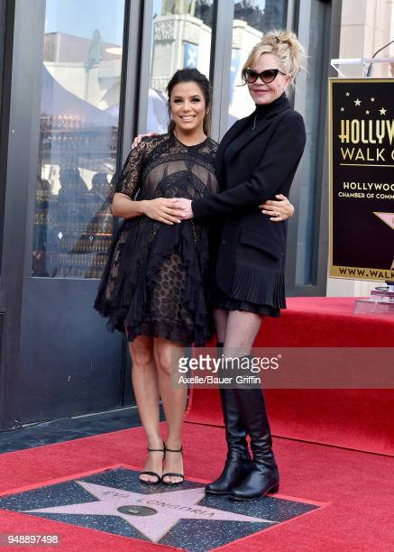 Actors Eva Longoria and Melanie Griffith attend the ceremony honoring Eva Longoria with star on the Hollywood Walk of Fame on April 16 2018 in...