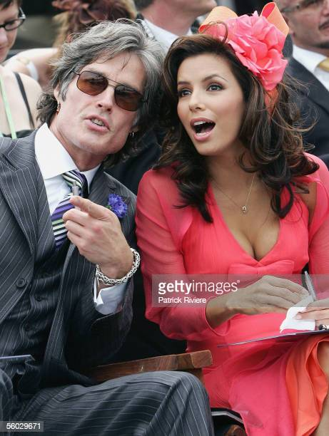 Actors Eva Longoria and Ronn Moss attend Fashions on the Field at the 2005 Derby Day at Flemington Racecourse October 29 2005 in Melbourne Australia
