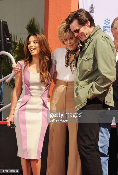 Actors Eva Longoria Jane Fonda and Jim Carrey attend actress Jane Fonda's Handprint/Footprint Ceremony during the 2013 TCM Classic Film Festival at...