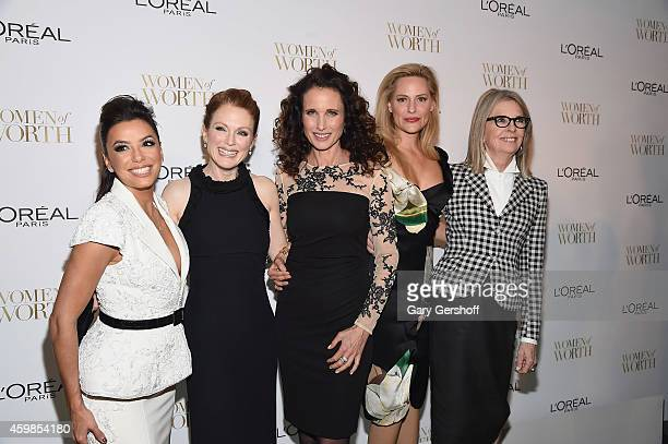 Actors Eva Longoria Julianne Moore Andie MacDowell Aimee Mullins and Diane Keaton attends L'Oreal Paris' Ninth Annual Women Of Worth Awards at The...
