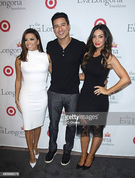 Actors Eva Longoria Mario Lopez and Courtney Mazza attend The Eva Longoria Foundation annual dinner at Beso on November 5 2015 in Hollywood California