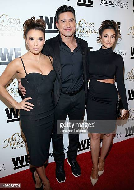 Actors Eva Longoria Mario Lopez and Courtney Mazza attend the launch of WE tv's David Tutera CELEBrations and Casa Mexico Tequila on November 6 2015...