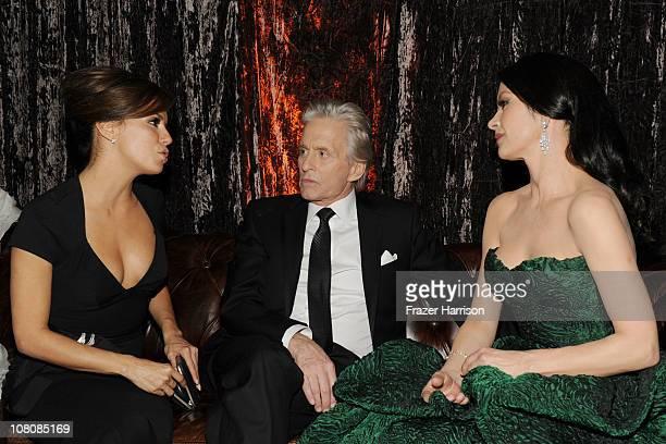 Actors Eva Longoria Michael Douglas and Catherine ZetaJones attend Relativity Media and The Weinstein Company's 2011 Golden Globe Awards After Party...