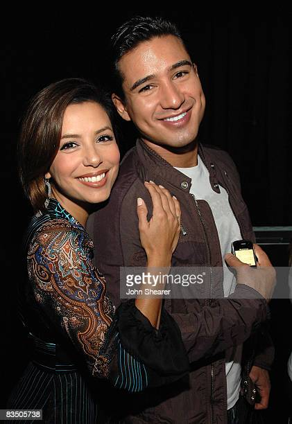 Actors Eva Longoria Parker and Mario Lopez attend the Blackberry Bold launch party at a private residence on October 30 2008 in Beverly Hills...