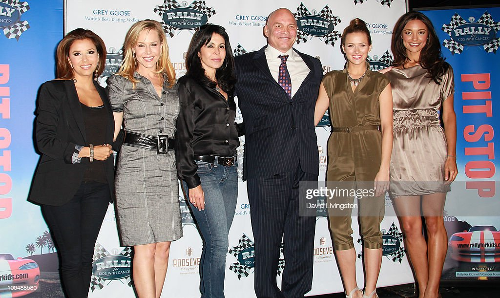 Actors Eva Longoria Parker, Julie Benz, Maria Conchita Alonso, Patrick Kilpatrick and Shantel VanSanten and correspondent/ former Miss USA Rachel Smith attend the Rally for Kids with Cancer Scavenger Cup press conference at Petersen Automotive Museum on May 24, 2010 in Los Angeles, California.