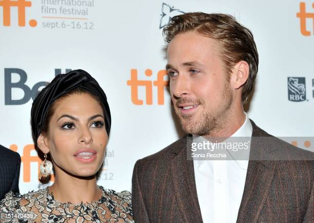 Actors Eva Mendes and Ryan Gosling attend The Place Beyond The Pines premiere during the 2012 Toronto International Film Festival at Princess of...