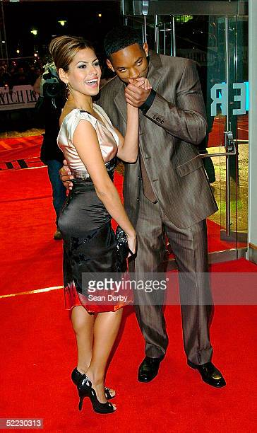 Actors Eva Mendes and Will Smith arrive at the 'Hitch' UK Premiere at Odeon Leicester Square on February 22 2005 in London