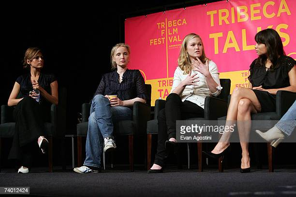 Actors Eva Mendes Julie Delpy Julia Stiles and Rosario Dawson speak during the Bringing Home The Bacon panel discussion at the 2007 Tribeca Film...