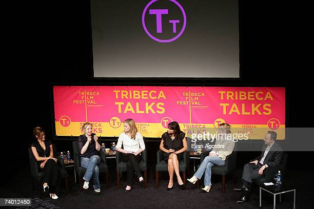 Actors Eva Mendes Julie Delpy Julia Stiles Rosario Dawson Mary Stuart Masterson and moderator Jacob Weisberg speak during the Bringing Home The Bacon...