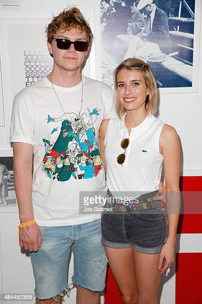 Actors Evan Peters and Emma Roberts attend Day 1 of the LACOSTE Beautiful Desert Pool Party on April 12 2014 in Thermal California