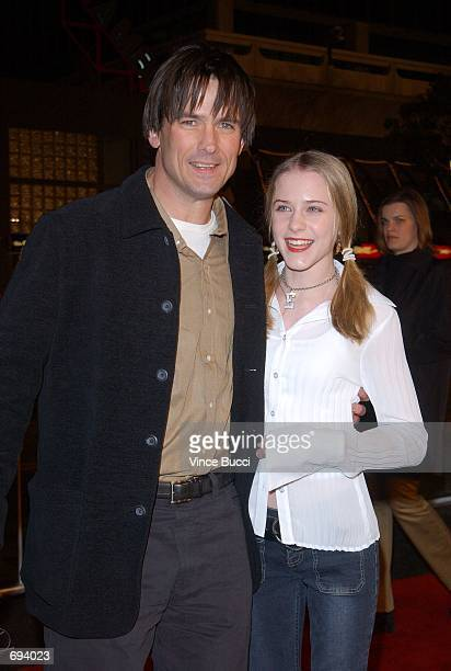 Actors Evan Rachel Wood and Billy Campbell attend the premiere of the film 'A Walk To Remember' January 23 2002 at the Chinese Theatre in Hollywood CA