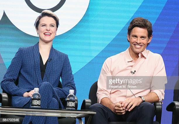 Actors Evan Rachel Wood and James Marsden speak onstage during the 'Westworld' panel discussion at the HBO portion of the 2016 Television Critics...