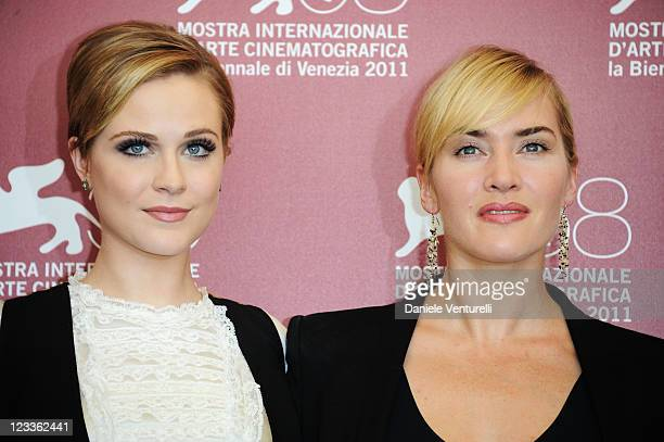 """Actors Evan Rachel Wood and Kate Winslet attend the """"Mildred Pierce"""" Photocall during the 68th Venice International Film Festival at Palazzo del..."""